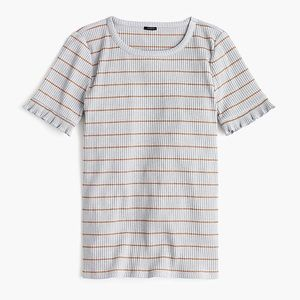 J. Crew striped ribbed ruffle tee shirt small